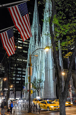 Photograph - Saint Patrick Cathedral At Night by M G Whittingham