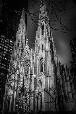 Photograph - Saint Patrick's - At Night by Timothy Harris
