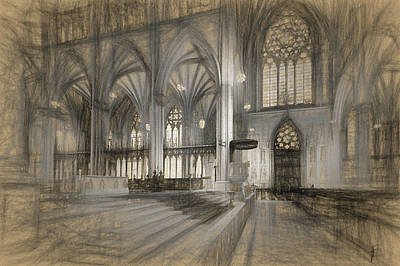 Drawing - Saint Patrick's Cathedral In New York City by Thomas Logan