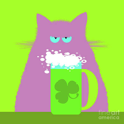 Royalty-Free and Rights-Managed Images - Saint Patricks Day Lilac Cat  by Zaira Dzhaubaeva