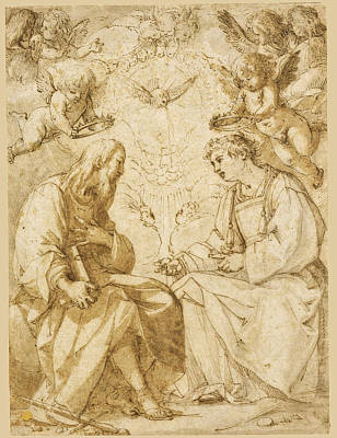 Drawing - Saint Paul And Saint Stephen Crowned By Angels by Giovanni Baglione