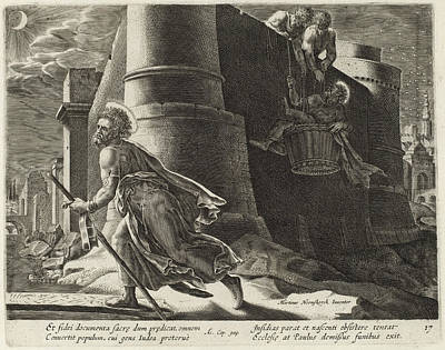 Drawing - Saint Paul Escapes From Damascus by Philip Galle