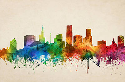 Rainbow Colors Painting - Saint Paul Minnesota Skyline 05 by Aged Pixel
