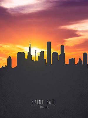Sunset Digital Art - Saint Paul Minnesota Sunset Skyline 01 by Aged Pixel