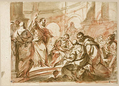 Drawing - Saint Paul Preaching At Athens by Giuseppe Bazzani