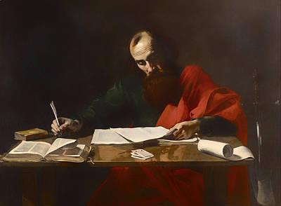 Religious Artwork Painting - Saint Paul Writing His Epistles  by Mountain Dreams