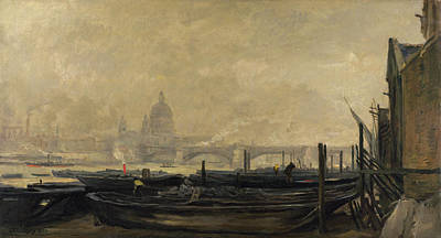Townscape Painting - Saint Paul's From The Surrey Side by Charles-Francois Daubigny