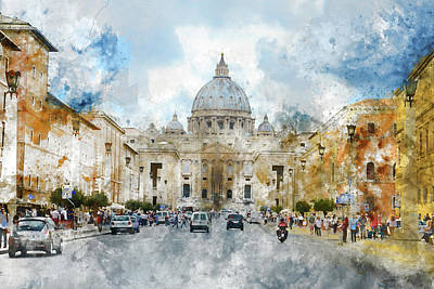 Photograph -  Saint Peter Basilica In Rome Italy by Brandon Bourdages