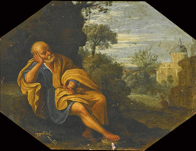 Painting - Saint Peter Meditating In A Landscape by Roman School