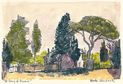 Art Print featuring the painting Saint Remy De Provence Landscape by Martin Stankewitz