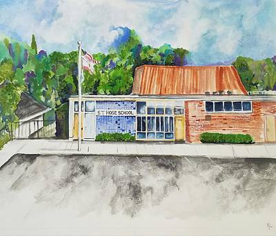 Painting - Saint Rose Catholic School by Kathy Laughlin