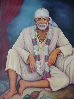 India Babas Painting - Saint Sai Baba, Shirdi Sai Baba, Portrait,online Art Gallery, Oil Painting On Canvas. by B K Mitra