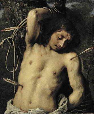 Catholic For Sale Painting - Saint Sebastian by Attributed to Juan Carreno de Miranda