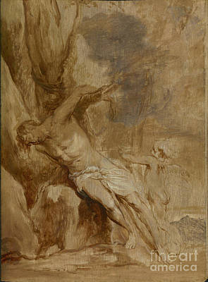 Airforce Painting - Saint Sebastian Tended By An Angel By Anthony Van Dyck by Esoterica Art Agency