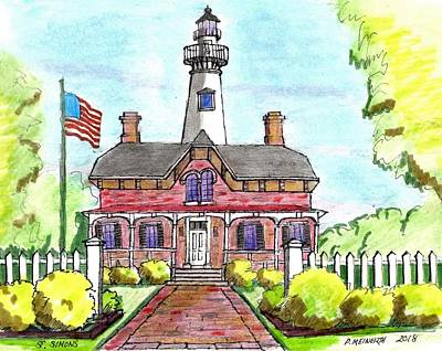 Drawing - Saint Simons Lighthouse by Paul Meinerth