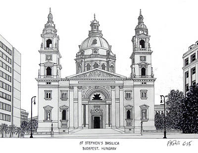Drawing - Saint Stephens Basilica by Frederic Kohli