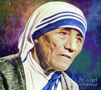 Humanitarian Mixed Media - Saint Teresa Of Calcutta by KaFra Art