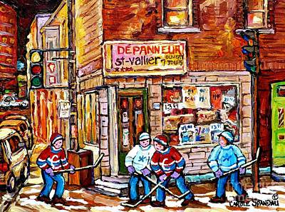 Painting - Saint Vallier Depanneur Hockey Art Canadian Winter Scene Montreal Memories Carole Spandau            by Carole Spandau