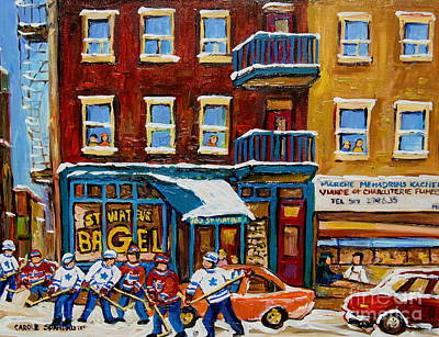Montreal Winter Scenes Painting - Saint Viateur Bagel With Hockey by Carole Spandau
