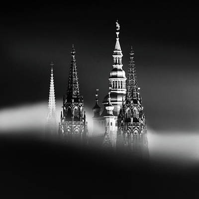 Photograph - Saint Vitus Cathedral During Foggy Winter Night. Black And White Moody Atmosphere. Prague, Czech Republic by Marek Kijevsky
