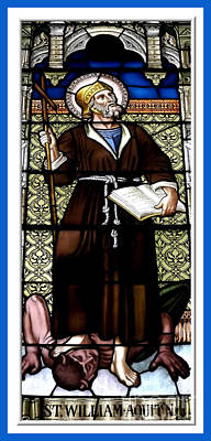 Saint William Of Aquitaine Stained Glass Window Art Print by Rose Santuci-Sofranko