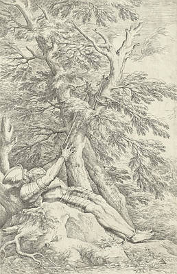 Relief - Saint William Of Maleval, Hands Tied With Rope Fastened To A Tree by Salvator Rosa