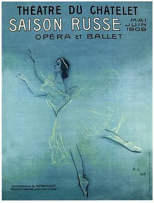 Royalty-Free and Rights-Managed Images - Saison Russe - Opera and Ballet - Theatre 1909 - Retro travel Poster - Vintage Poster by Studio Grafiikka