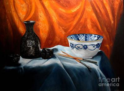 Sake Bottle Painting - Sake And Orange Silk by Mary Datum