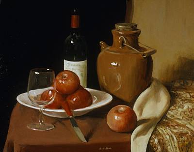Painting - Sake Jug, Apples And Wine by Robert Holden