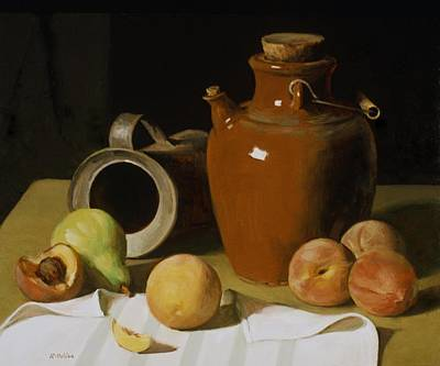 Painting - Sake Jug, Old Tin Can And Fruit by Robert Holden