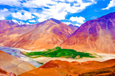 Hill Top Village Painting - Sakti Village In Ladakh 2 by Lanjee Chee