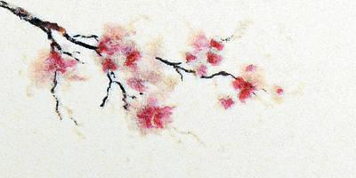 Mixed Media - Sakura Branch by Anton Kalinichev