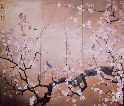 Painting - Sakura - Cherry Trees In Bloom by Sorin Apostolescu
