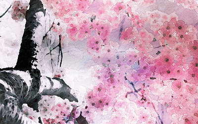 Mixed Media - Sakura Sky by Susan Maxwell Schmidt