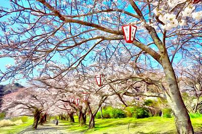 Cherry Blossoms Digital Art - Sakura Time In Iwakuni by Jean-Marc Lacombe