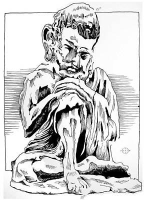 Gary Peterson Drawing - Sakyamuni by Gary Peterson