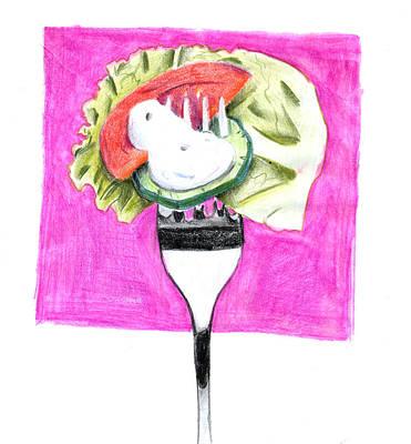 Healthy Eating Drawing - Salad-food Illustration by Maria Evripidou