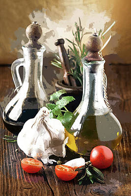 Italian Kitchen Painting - Salad Prep Before Supper by Elaine Plesser