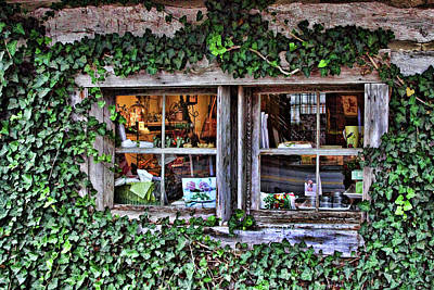 Salado Log Cabin Window Art Print by Linda Phelps