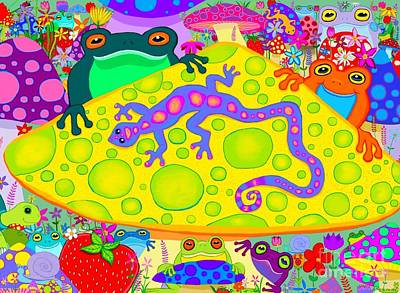 Digital Art - Salamander And Froggies  by Nick Gustafson