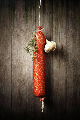 Still Life Royalty-Free and Rights-Managed Images - Salami Sausage  by Johan Swanepoel