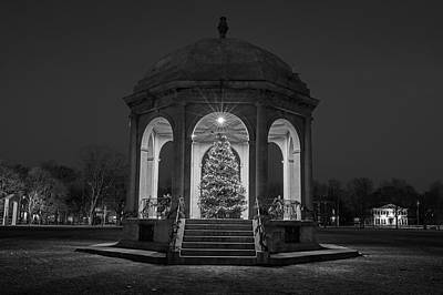 Photograph - Salem Common Christmas Tree Salem Ma Black Anf White by Toby McGuire