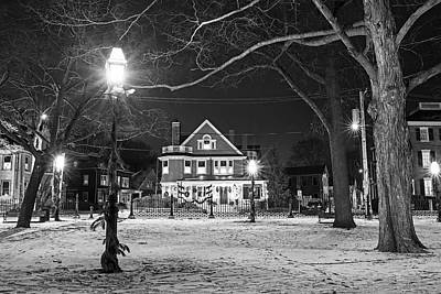 Photograph - Salem Commons Winter Snow At Christmas Salem Ma Black And White by Toby McGuire