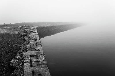 Photograph - Salem Derby Wharf Disappearing  Into Nothingness Foggy Day In Salem Ma Black And White by Toby McGuire