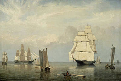 Painting - Salem Harbor By Fitz Henry Lane 1853 by Fitz Henry Lane