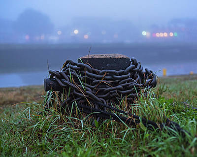 Photograph - Salem Ma Derby Wharf Chains In The Fog Salem Ma by Toby McGuire