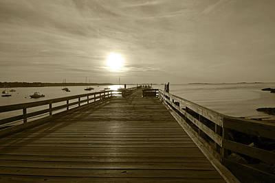 Photograph - Salem Willows Pier At Sunrise Sepia by Toby McGuire