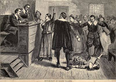 Salem Witch Trials. A Women Protests Art Print by Everett