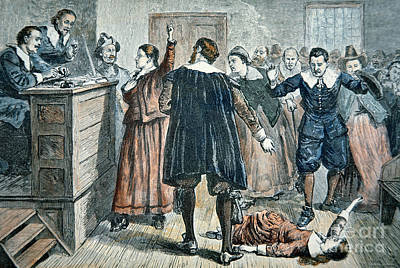 Trial Painting - Salem Witch Trials by American School