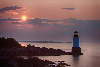Photograph - Salem's Lighthouse At Dawn First Light by Jeff Folger